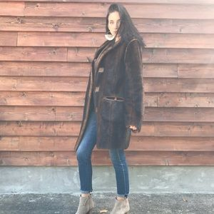 Vintage Brown Hooded Faux Fur Coat